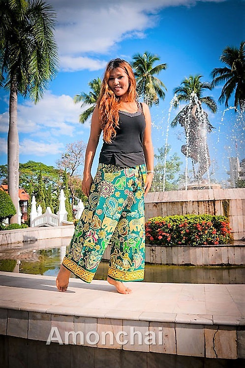 Green Jungle Design Thai Fisherman Pants
