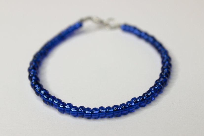 Solid Blue Seed Bead Bracelet