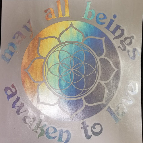 Awaken to Love/Lotus Seed of Life Sticker- 11.75""