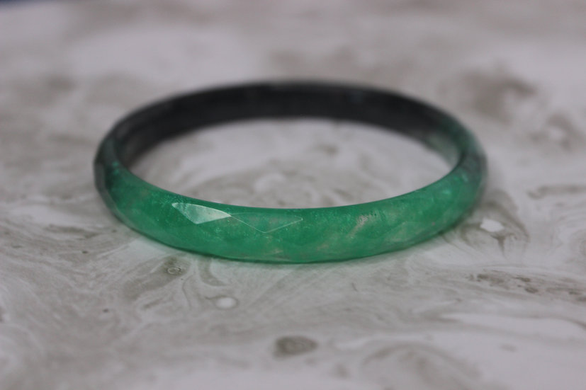 Faceted Black and Green Bangle