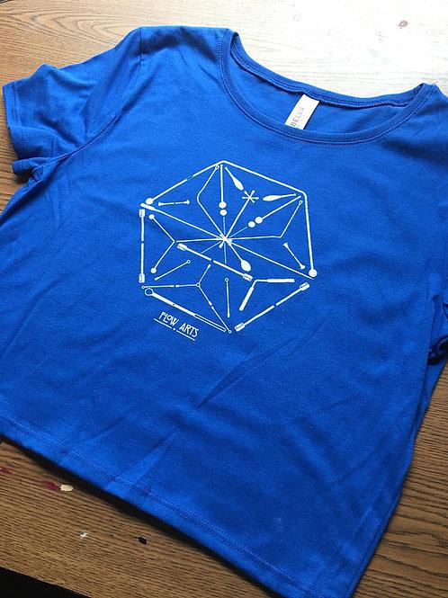 Modek Hexagon Prop Mandala Crop Tee- Royal Blue