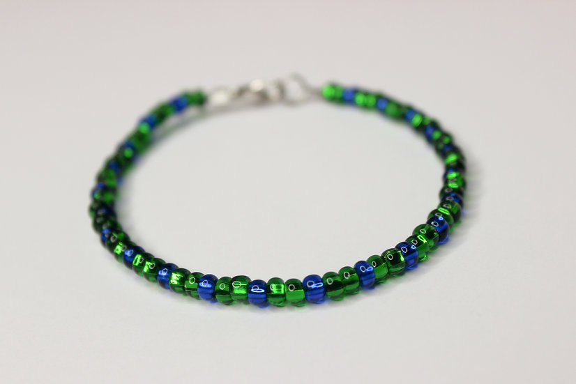 2-1 Pattern Green and Blue Seed Bead Bracelet