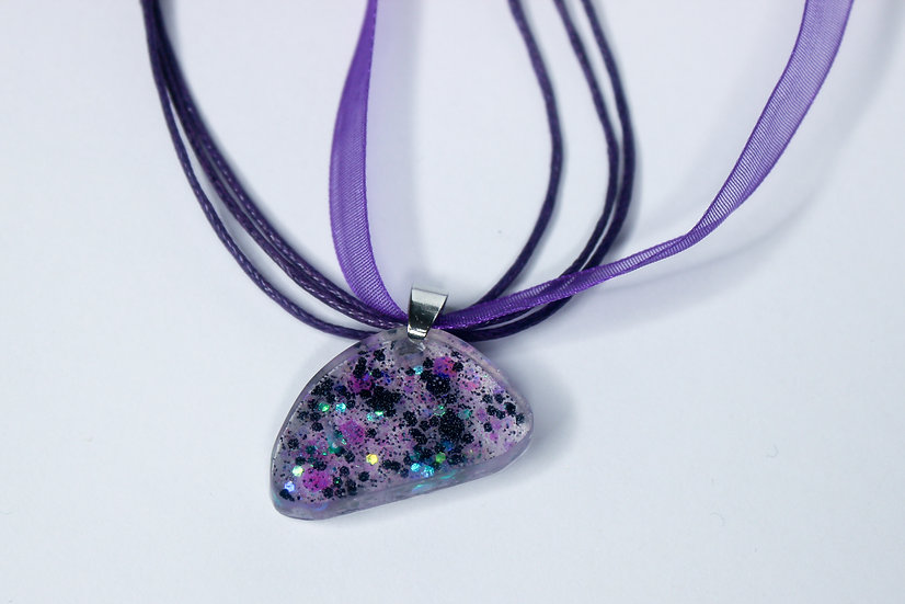Puple and Black Sparkle Rock Necklace