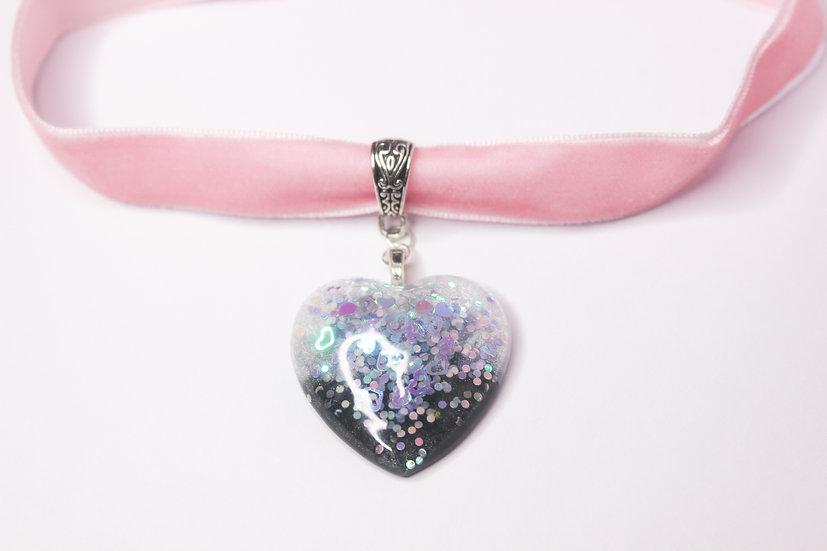 Glitter Heart Choker