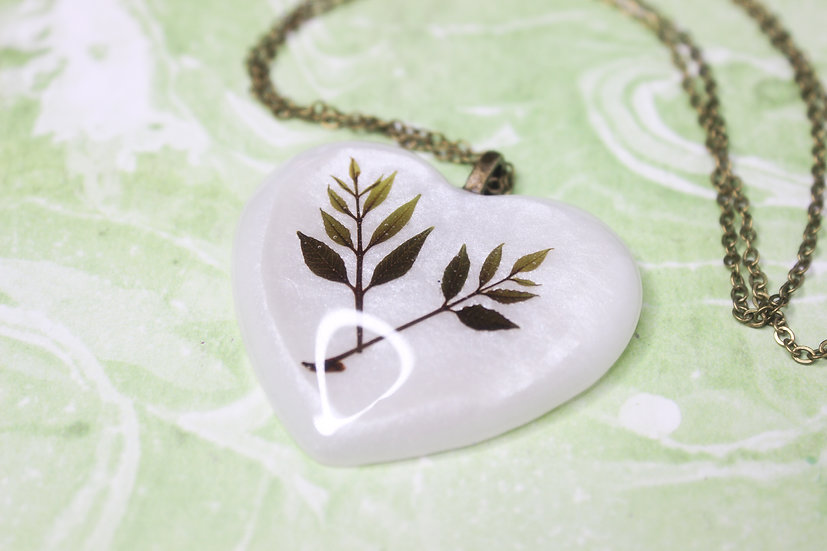 Two Ferns Heart Necklace
