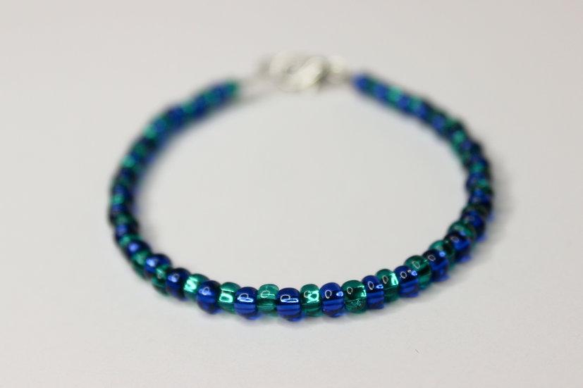 1-1 Pattern Blue and Aqua Seed Bead Bracelet