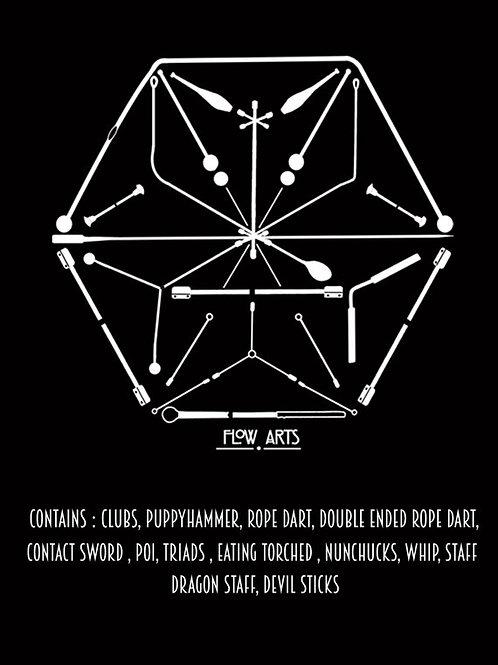 Modek Hexagon Prop Mandala Crop Tee- Black
