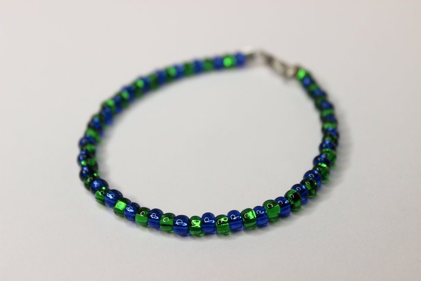 1-1 Pattern Blue and Green Seed Bead Bracelet