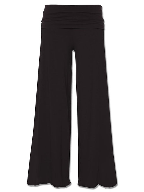 Black Roll-top Flowy Pants