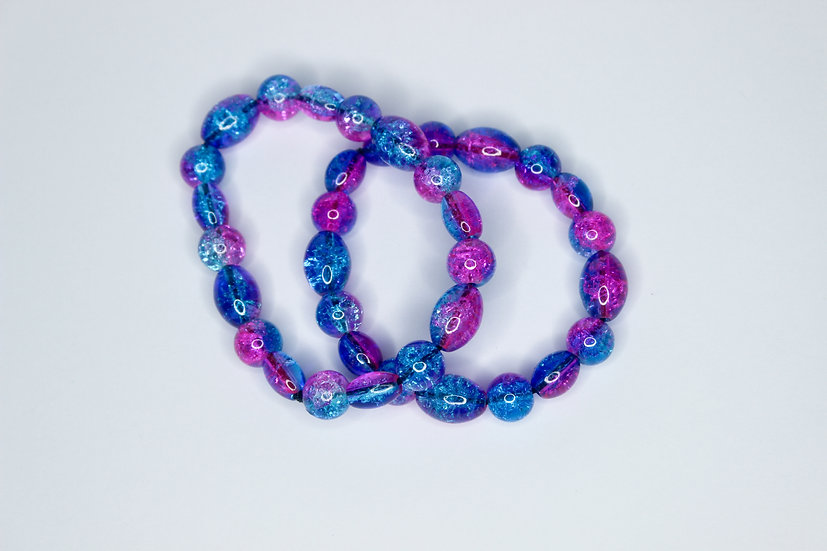 Pink and Blue Galaxy Bead Bracelet