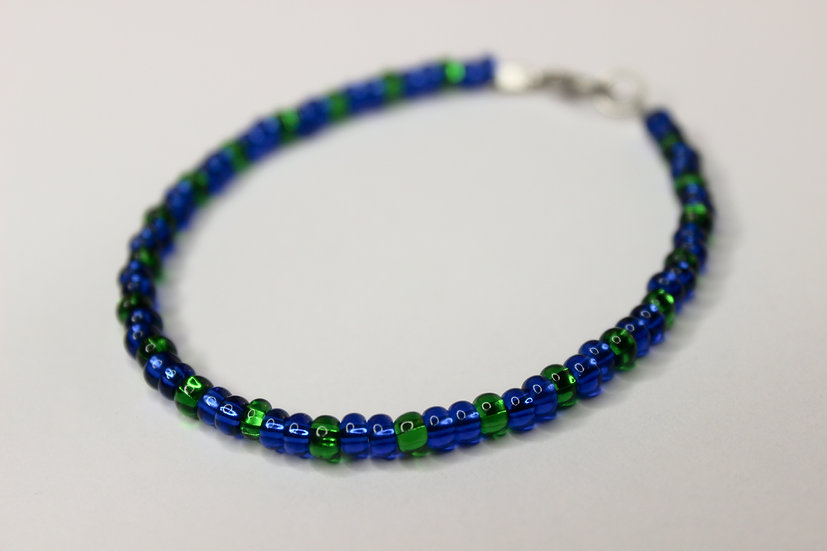 2-1 Pattern Blue and Green Seed Bead Bracelet
