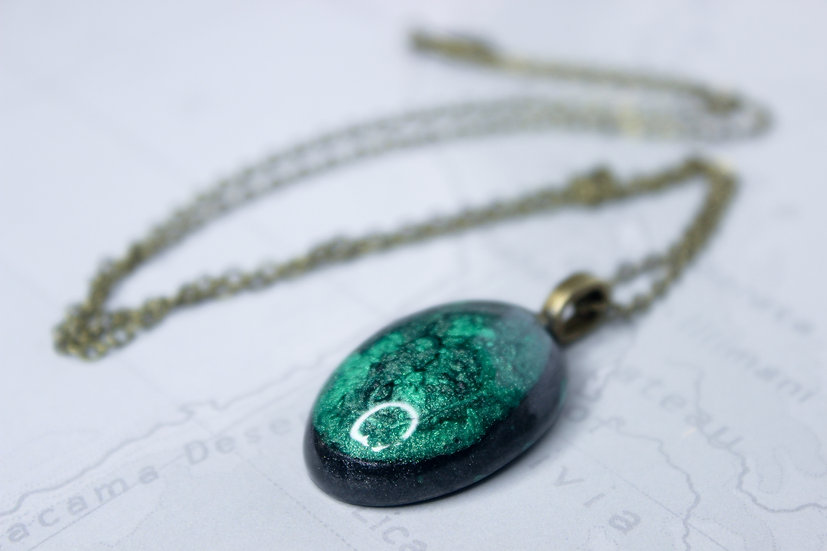 Green and Black Dragon's Egg Necklace