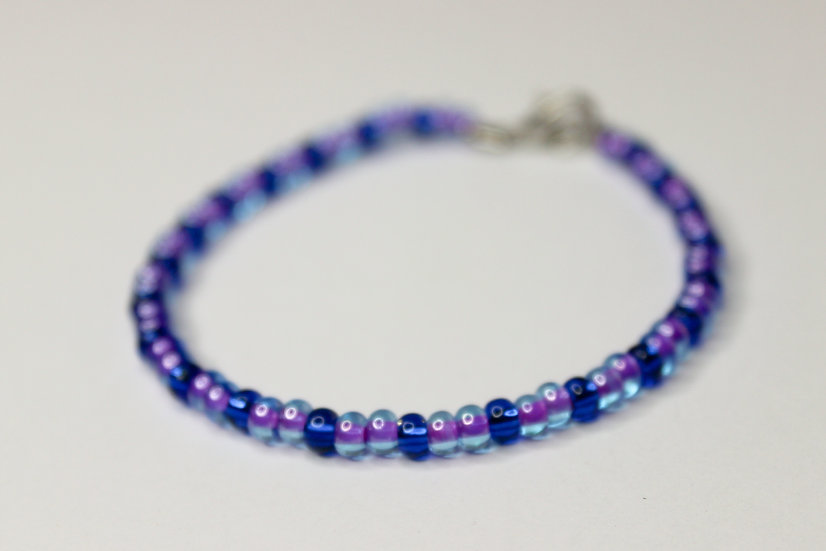 2-1 Pattern Tranclucent Purple-Lined and Blue Seed Bead Bracelet