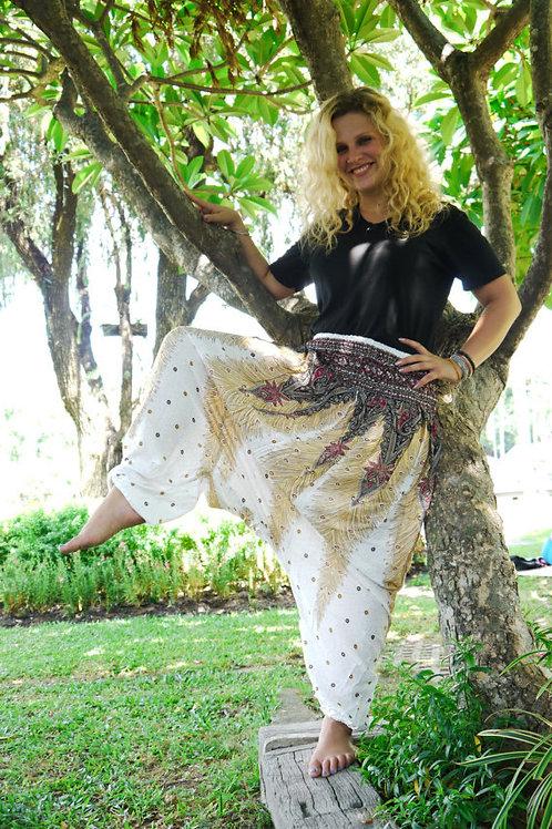 White Thai Harem Pants w/ Peacock Feathers