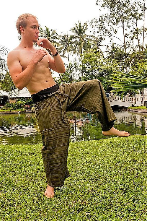 Green Patterned Thai Fisherman Pants