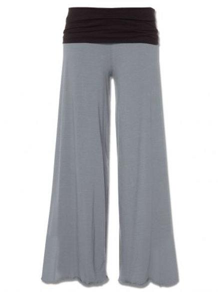 Gray Flowy Roll-top Pants
