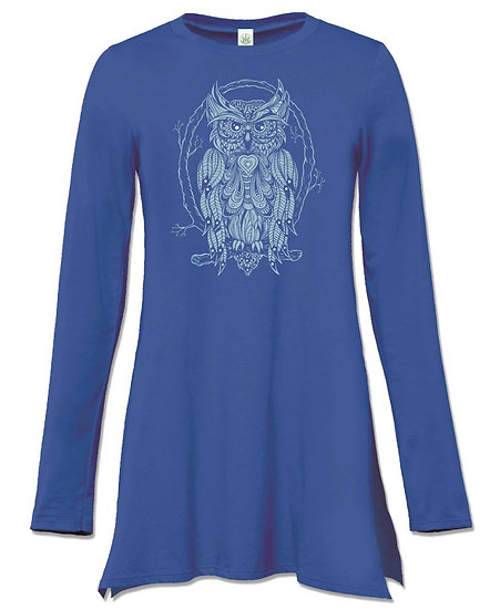 Starlight Owl Long Sleeve Tunic Top