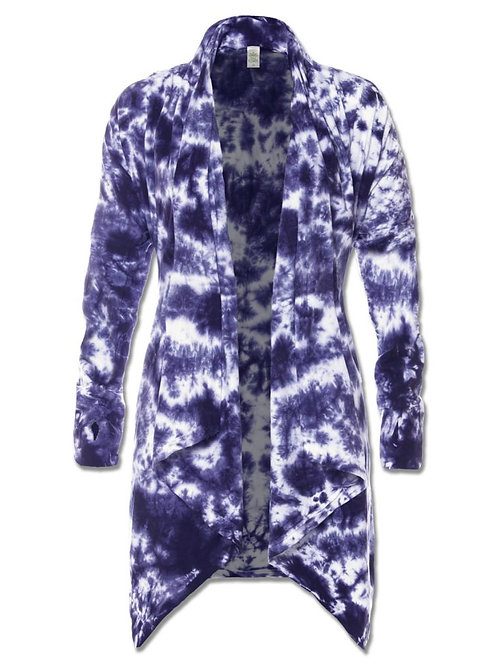 Navy Electric Tie-Dye Draped Cardigan