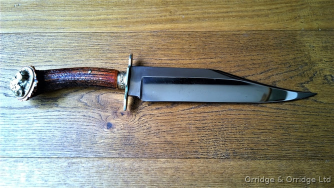 R Middleton & Sons Sheffield Large Hand Made Bowie Knife With Stag Horn Handl