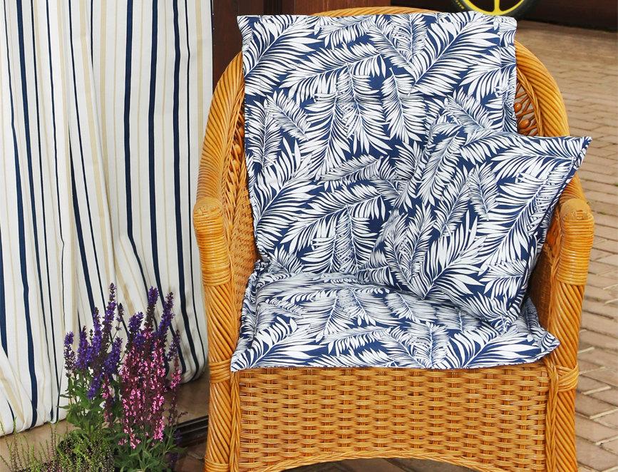 """Подушка на стул со спинкой, """"Blue  Palma"""",  50x100см."""