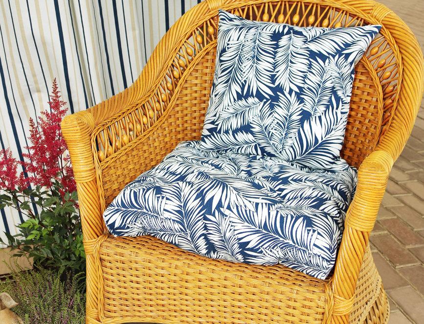 """Подушка на стул, """"Blue  Palma - S"""",  50x50см."""