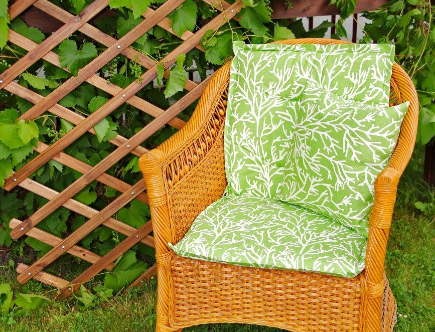 """Подушка на стул со спинкой, """"Green Corals"""",  50x100см."""