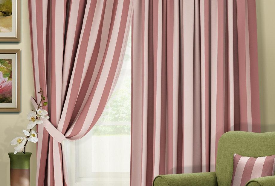 """Комплект штор """"Blackout-SH"""",  нежно-розовый, с розовой полосой"""