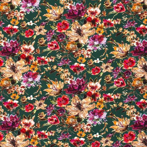 Bomull Jersey Blomster Grønn