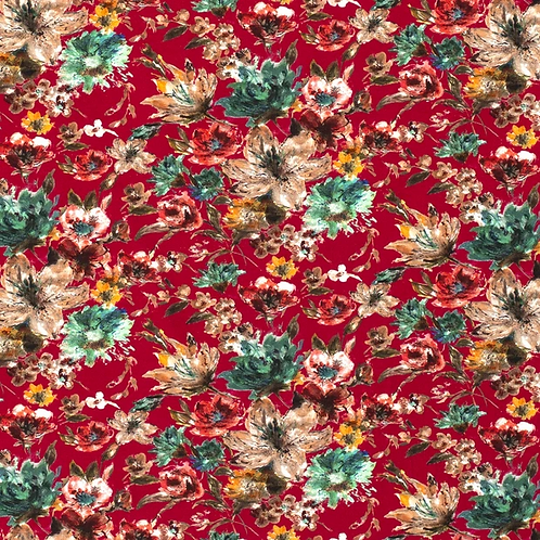 Bomull Jersey Blomster Vinrød