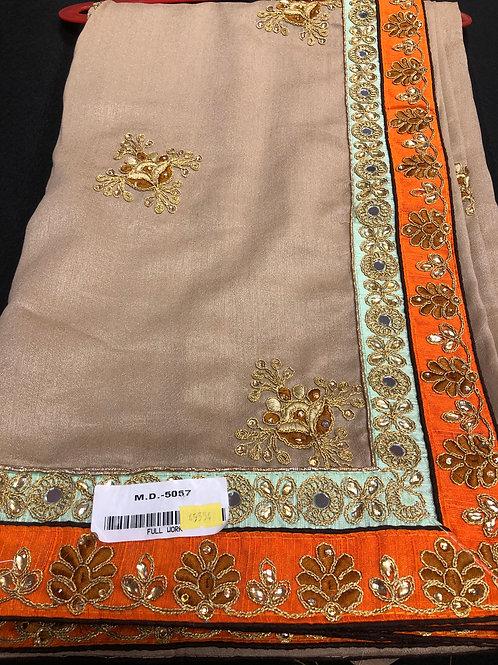 Mønstret saree med blouse