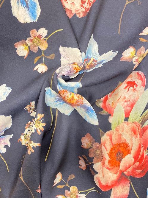 Store blomster deilig georgette marineblå