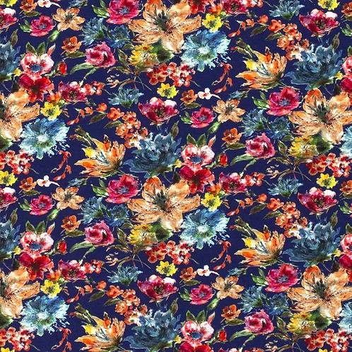 Bomull Jersey Blomster Kobolt