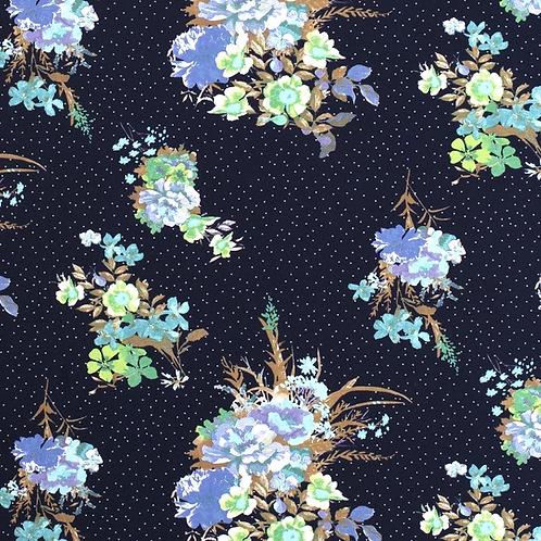Bomull Jersey Blomster Marineblå