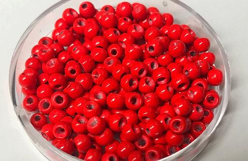 Red Brass Beads x50