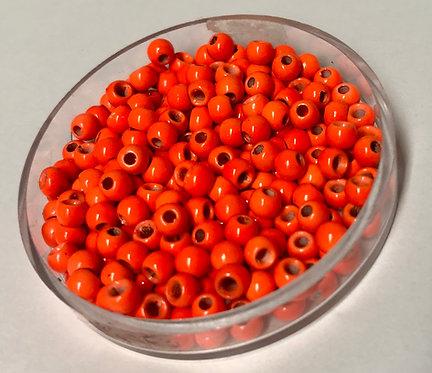 Hot Orange Brass Beads x50