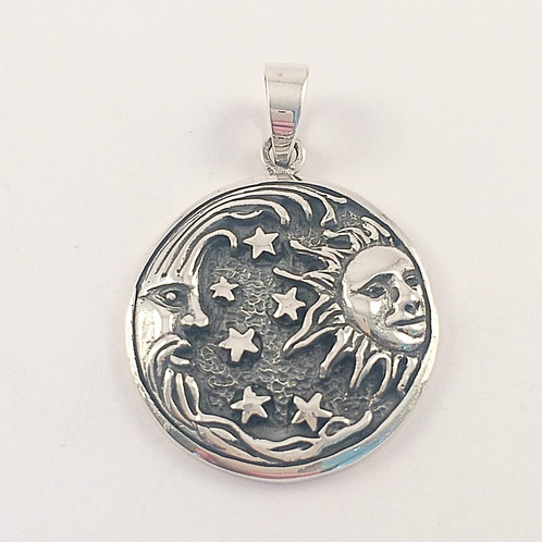 Sterling silver sun moon and stars pendant mozeypictures Choice Image
