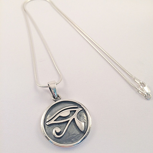 Sterling silver eye of ra symbol pendant sterling silver eye of ra symbol pendant pendant displayed on sterling silver snake chain sold separately pendant diameter 22mm aloadofball Choice Image