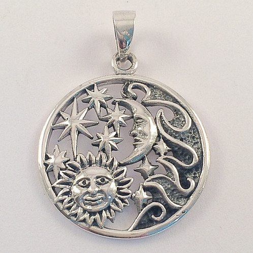 Sterling silver sun moon and stars pendant spiral jewellery sterling silver sun moon and stars pendant mozeypictures Choice Image