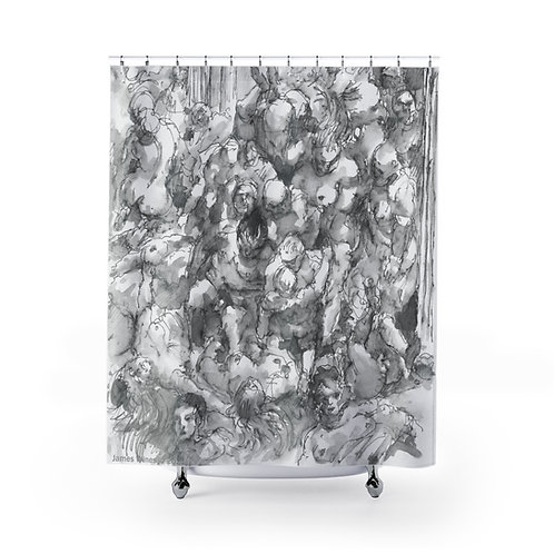 "James Wines ""Marquis de Sade Birthday Party"" shower curtain"