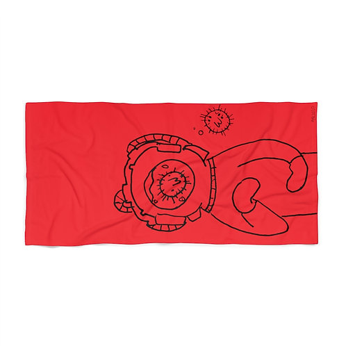Marco's Bubble Talk Spacey Red Beach Towel