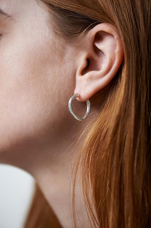 wavy hoop earrings silver
