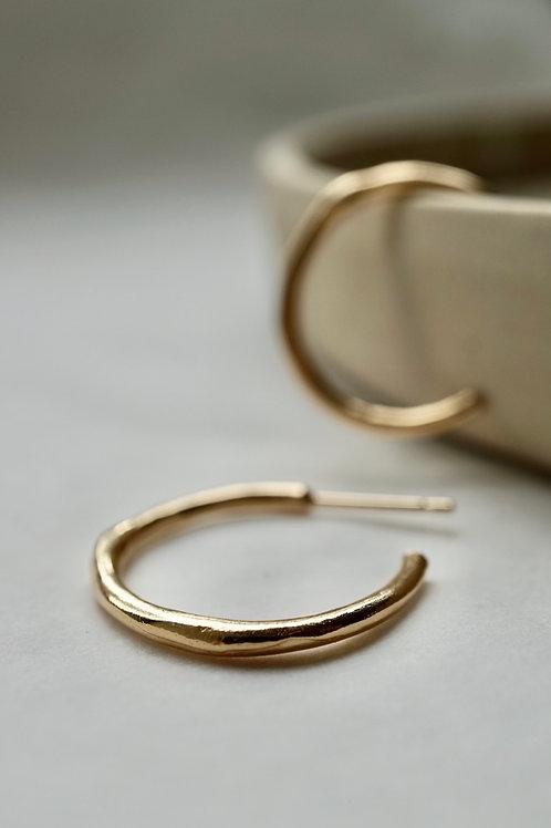fine branch hoop earrings gold