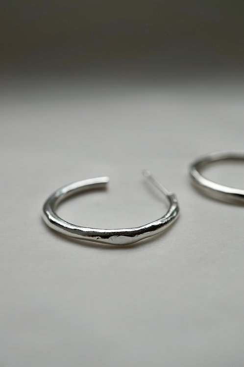 fine branch hoop earrings silver