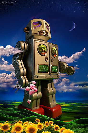 A Horikawa vintage toy artwork showing a giant robot as a lover by artist Xavier Nuez