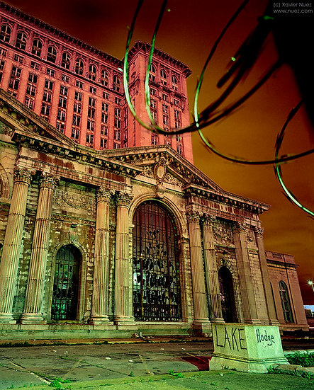 "Detroit's beautiful ""Michigan Central Station"" ruins ""night photography"" ""art photography"""