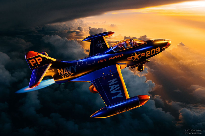 "A theatrical ""vintage toy"" artwork by artist Xavier Nuez of a ""us navy"" panther fighter jet"