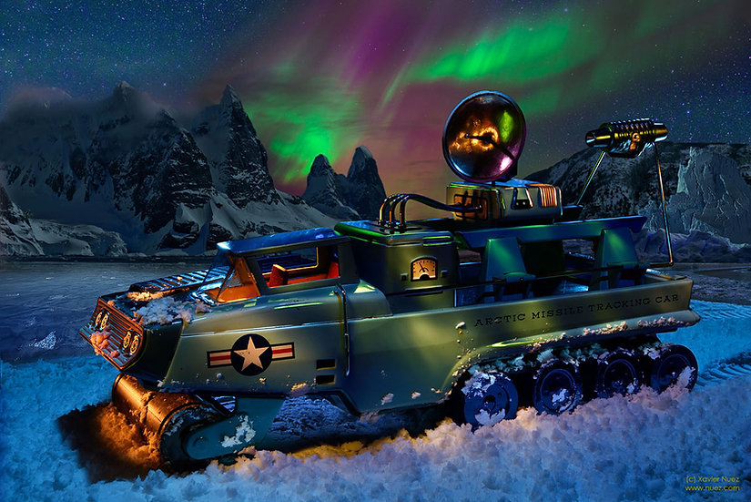 "A whimsical vintage BANDAI tin toy artwork depicting an army truck in the arctic with the ""aurora borealis"""