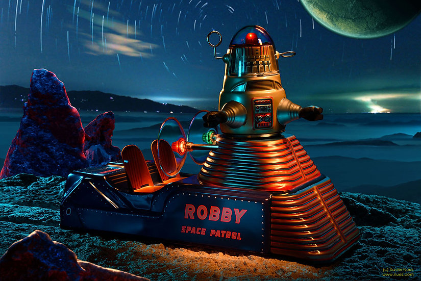 "A theatrical and fantasy vintage toy artwork by artist Xavier Nuez of science fiction icon ""robby the robot"""