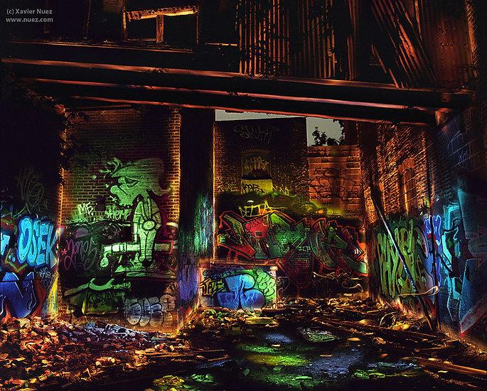 """light painting"" ""night photography"" of Philadelphia urban ruins graffiti wall ""long exposure"""