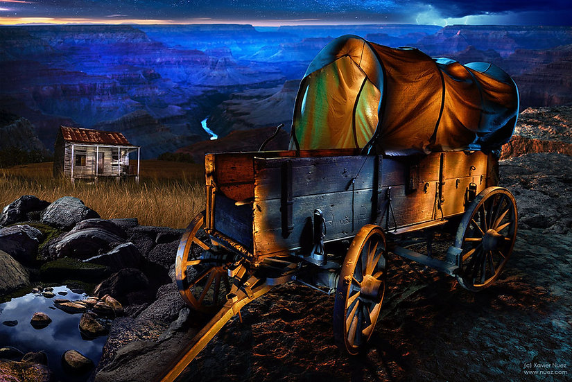 "A fantasy ""light painting"" artwork of a wagon near a canyon at night by artist Xavier Nuez"